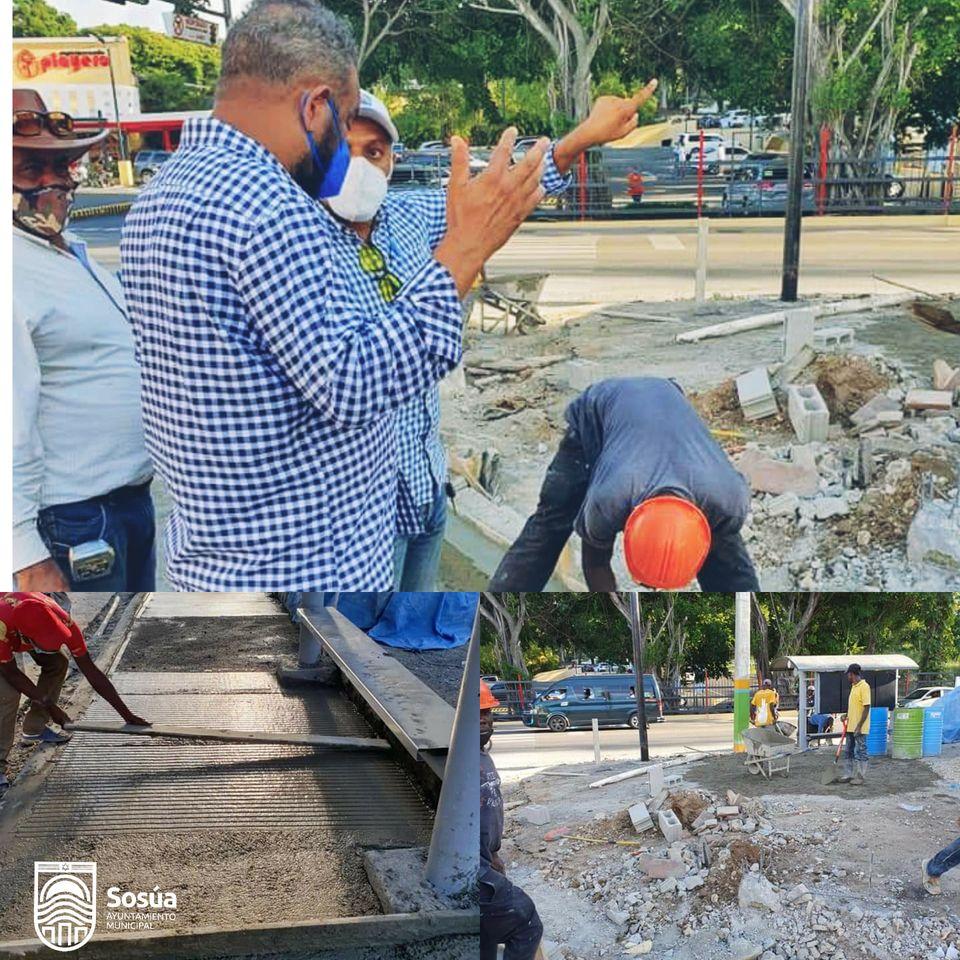 Alcalde Wilfredo Olivences inicia trabajos de aceras y contenes