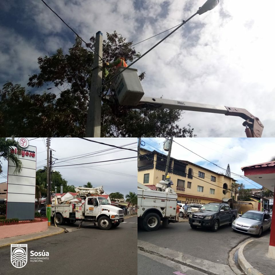 Por disposición del alcalde Wilfredo Olivences, brigadas Edenorte realizan operativo de instalación de lámparas en toda Sosúa.
